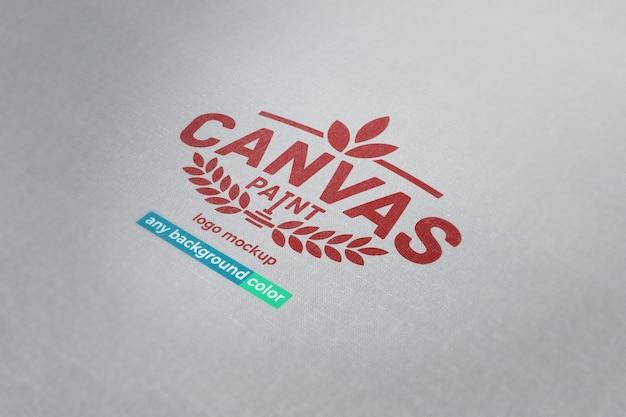 Макет логотипа или текста на холсте с гранжевым или чистым внешним видом