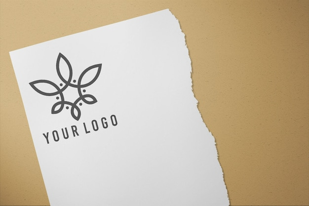 Logo on paper front view mockup