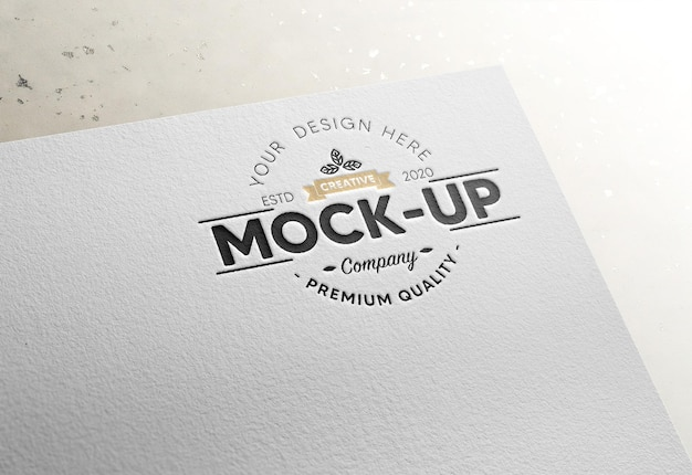 Logo on paper mockup with debossed effect