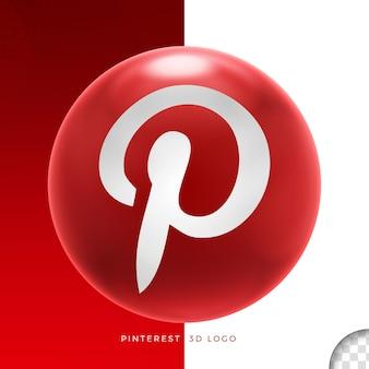 Логотип pinterest на эллипсе 3d дизайн