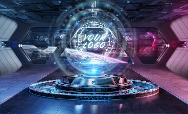 Logo projector in futuristic interior mockup