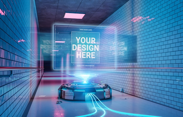 지하 터널 내부 모형의 로고 프로젝터