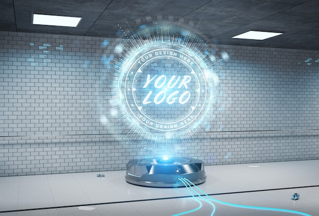 Logo projector in underground tunnel interior mockup
