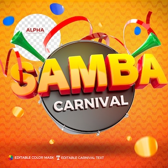 Logo samba rendered for composition isolated with repique and vuvuzela