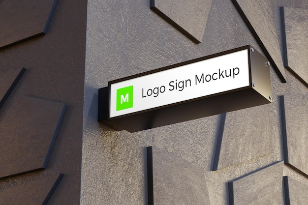 Logo sign mockup rectangle signage box on facade of office building