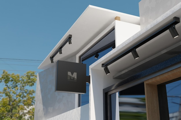 Logo sign mockup rectangle signage box on facade of office store building