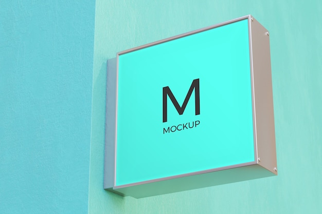 Logo sign mockup rectangle signage box on facade