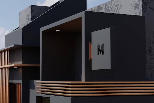Коробка вывесок прямоугольника вывески макета знака логотипа на фасаде здания офисного магазина