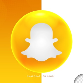 Логотип snapchat на эллипсе 3d дизайн