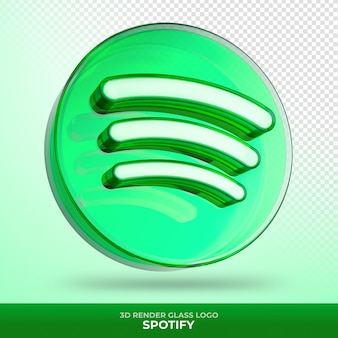 Logo spotify glass acrylic with transparent 3d render