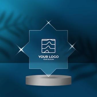 Логотип прозрачный эффект стиля размытие фона макет