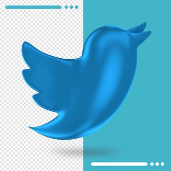 Logo of twitter in 3d rendering