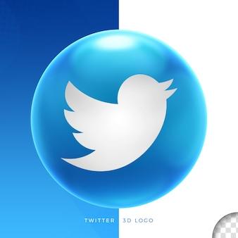 Логотип twitter на эллипсе 3d дизайн