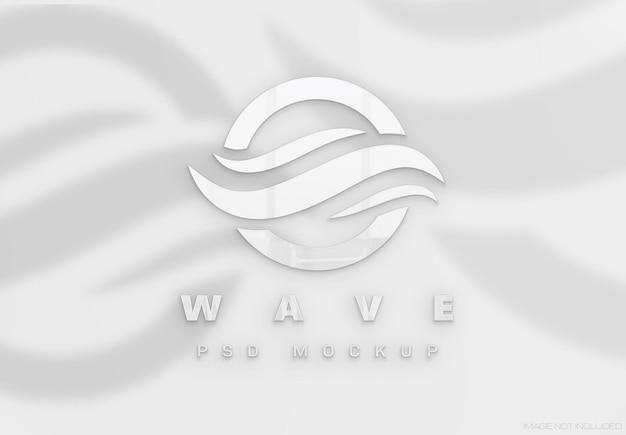 Логотип с белым глянцевым 3d эффектом и тенями mockup