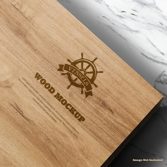 Logo wood mockup with texture details