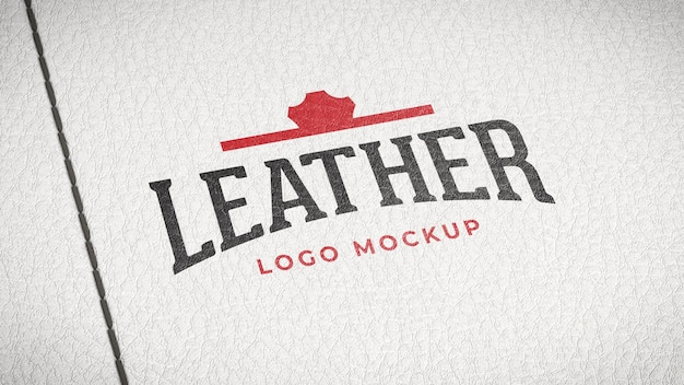 Logotype mockup painted on a white leather with stitches