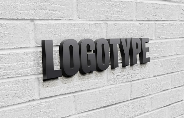Logotype template on brick wall