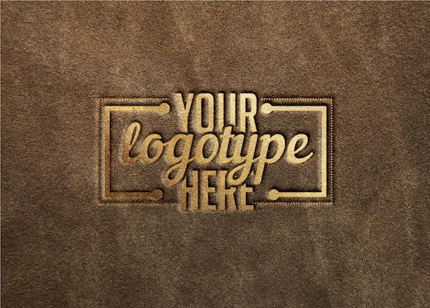 Logotype template on leather