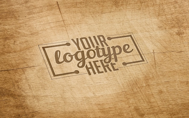 Logotype template on wood