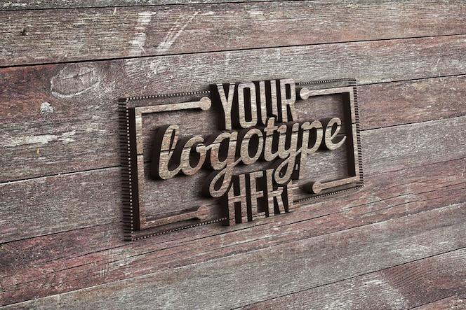 Logotype template on wood