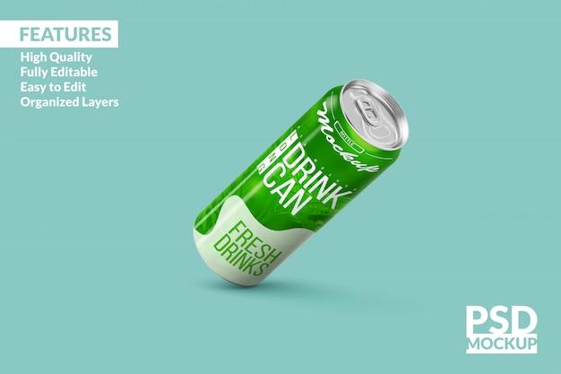 Long aluminium drink can mock up design template premium psd