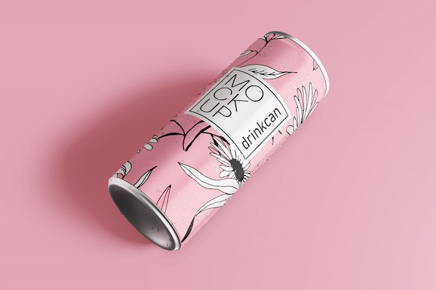 Long aluminium drink can mockup