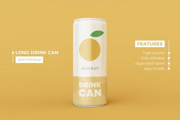 Long aluminum drink can mockup