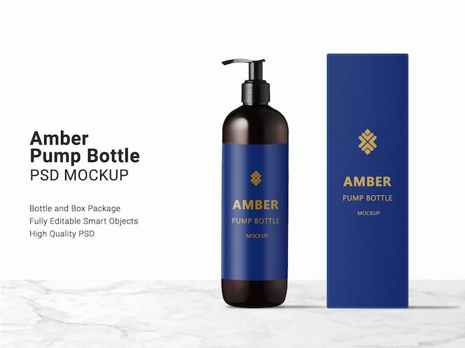Мокап бутылки с длинным янтарным насосом и упаковочной коробки