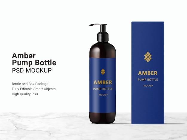 Long amber pump bottle and packaging box mockup
