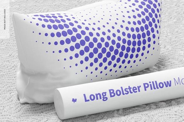 Long bolster and rectangular pillow mockup