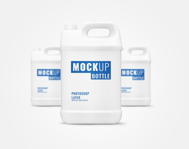 Long bottle gallon of liquid mockup