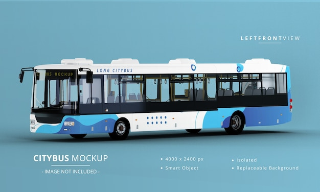 Long city bus mockup 왼쪽 전면보기