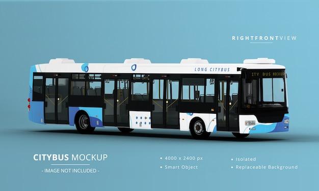 Long city bus mockup 오른쪽 전면보기