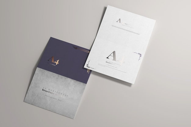 Long edge fold a4 bi-fold horizontal mockup