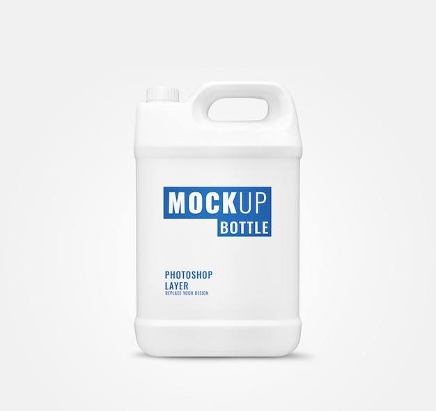 Long gallon bottle mockup realistic