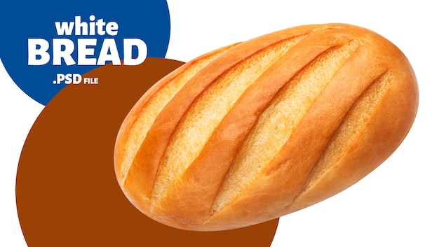 Long loaf. white bread isolated on white background