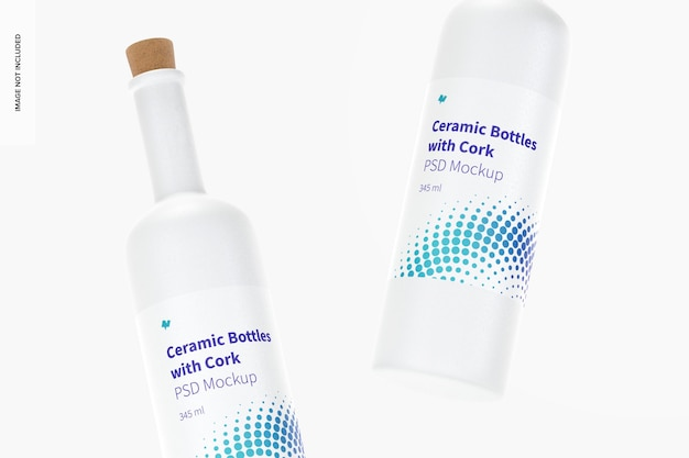 Long neck ceramic bottles with cork mockup, floating