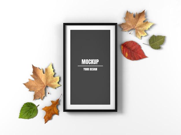 Длинная рамка для фотографий и кленовые листья