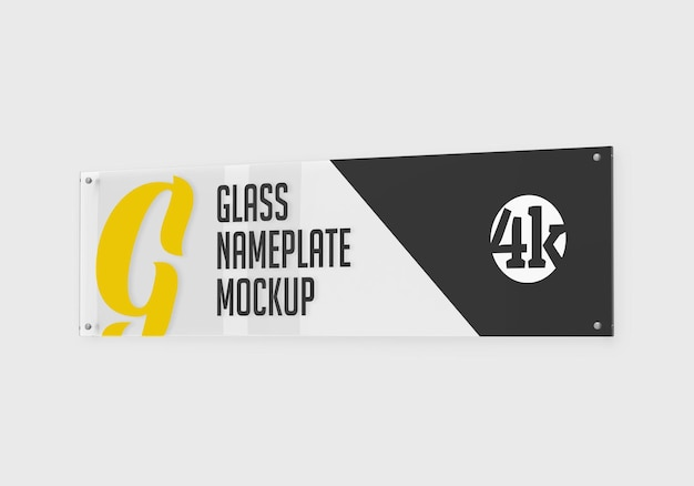 Long rectangular glass nameplate mockup isolated
