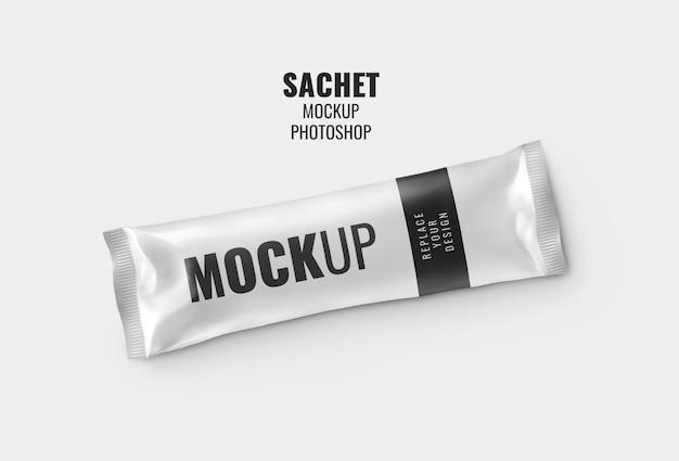 Long sachet chocolate bar mockup realistic rendering