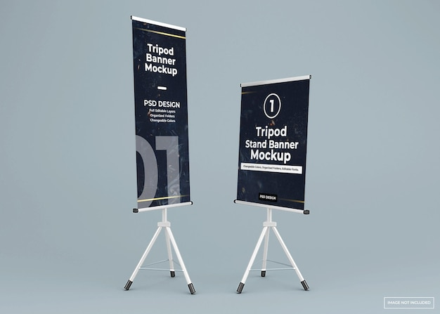 Long and short tripod banner stand mockup