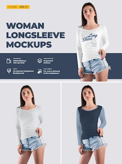 Long sleeve woman t-shirt mockup. design is easy in customizing images design t-shirt (t-shirt and sleeve), color of all elements thsirt, heather texture.