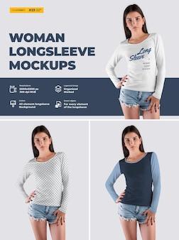 긴 소매 여성 티셔츠 목업. 디자인은 이미지 디자인 티셔츠 (티셔츠와 소매), 모든 요소의 색상, 헤더 질감을 사용자 정의하기 쉽습니다.