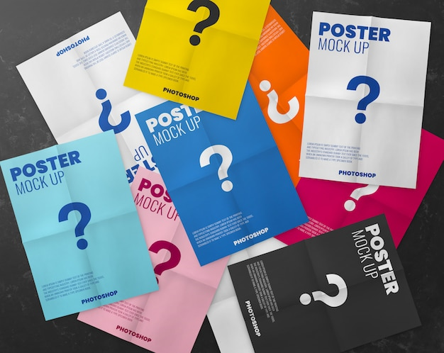 A lot of poster paper fold texture mockup
