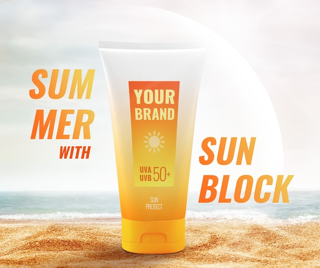 Lotion cream sun protection beach advertising mockup