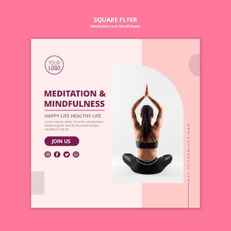 Lotus position meditation and mindfulness square flyer