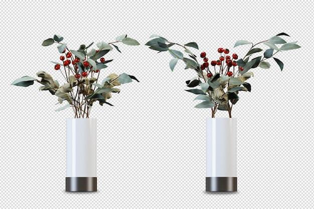 分離された3dレンダリングの蓮の花瓶