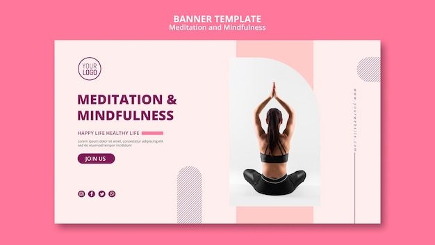 Lotus yoga position banner template