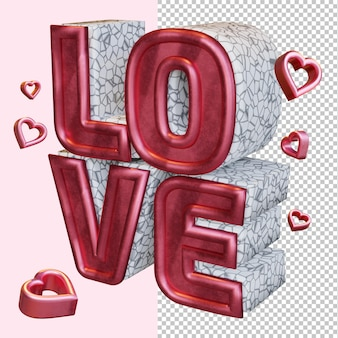 Love 3d render bold letter isolated