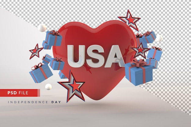 Love america celebration independence day for 4th july isolated 3d render